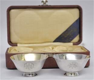 JAPANESE PURE SILVER JUNGIN SAKE WEDDING CUPS