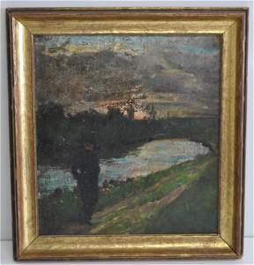 YURI ILICH REPIN (Russian, 1877-1954) TWILIGHT WALK OIL