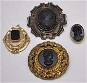 4 PC VICTORIAN MOURNING CAMEO BROOCHES / PENDANT