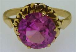 14KT GOLD PINK SYNTHETIC SPINEL FASHION RING SZ 8.75