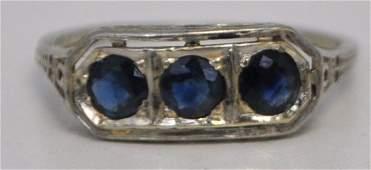 18k WHITE GOLD VICTORIAN RING BLUE STONES 7.75
