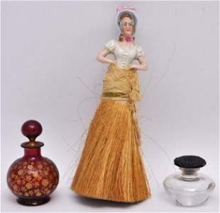 3 pc BACCARAT PERFUME - RUBY PERFUME - PORCELAIN WHISK