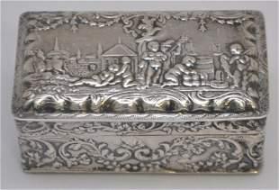 19th c. HANAU SILVER ORNATE TRINKET BOX - NUDES