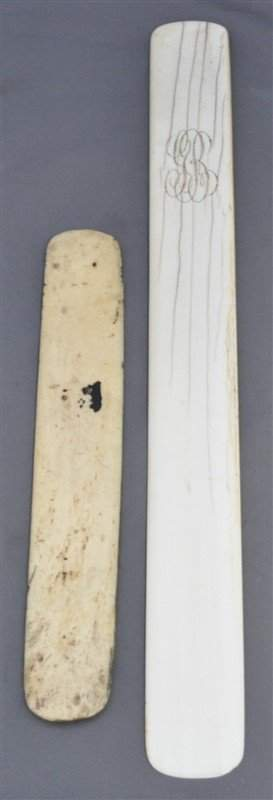 LARGE 19TH C. IVORY PAGE TURNER & BOOK MARK