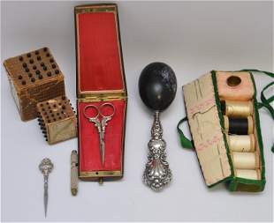 7PC 19TH C. VICTORIAN STERLING & MORE SEWING ITEMS