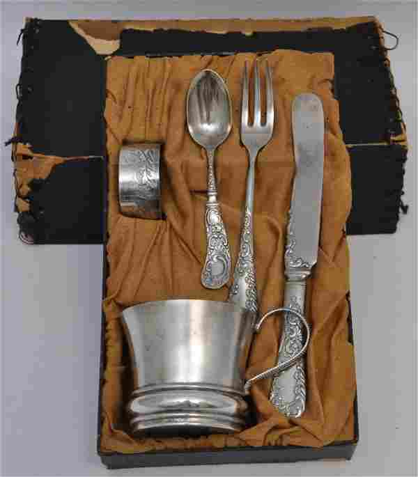 VICTORIAN EXTRA COIN SILVER PLATE CHILDRENS SET