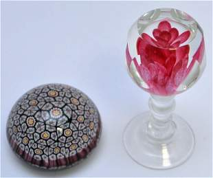 2 PC MURANO MILLEFORI & PINK FLORAL PAPERWEIGHTS