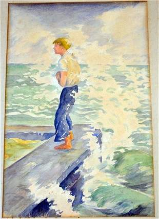 MARY WILSON BALL (1892-1984) WATERCOLOR CHARLESTON