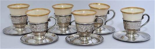 SET OF 6 AMERICAN STERLING DEMITASSE CUPS  SAUCERS