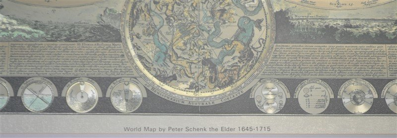 FRAMED WORLD MAP PETER SCHENK THE ELDER 1645-1715 - 10
