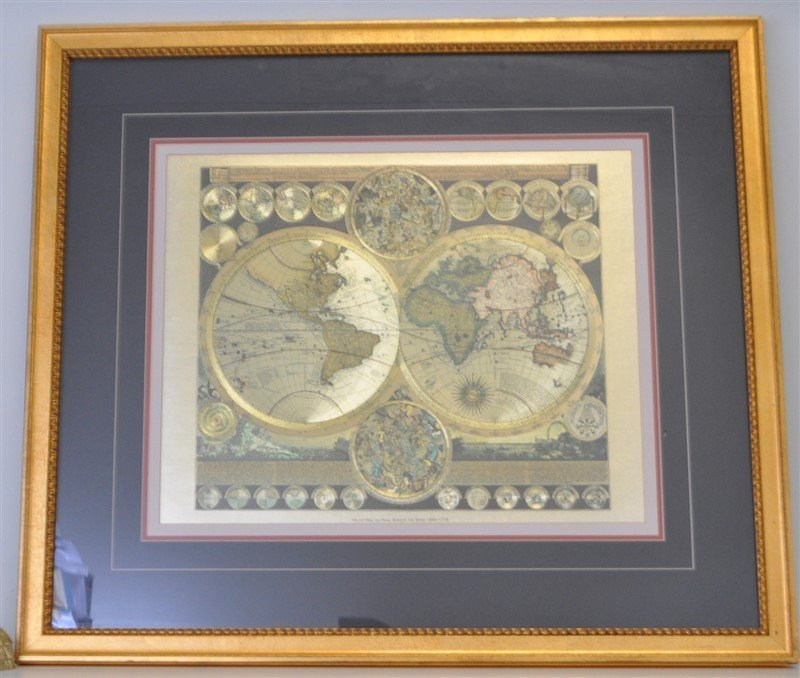 FRAMED WORLD MAP PETER SCHENK THE ELDER 1645-1715