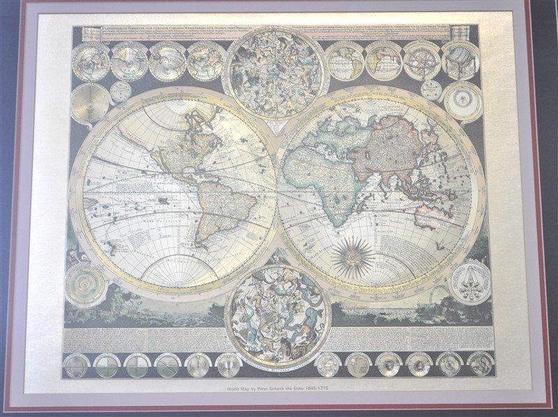 FRAMED WORLD MAP PETER SCHENK THE ELDER 1645-1715 - 2