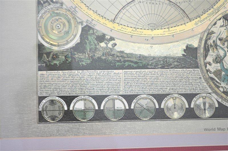 FRAMED WORLD MAP PETER SCHENK THE ELDER 1645-1715 - 3