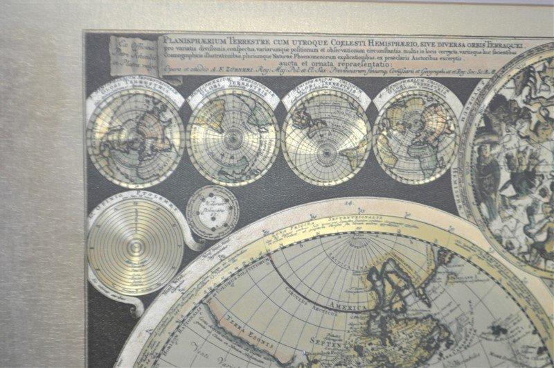 FRAMED WORLD MAP PETER SCHENK THE ELDER 1645-1715 - 4