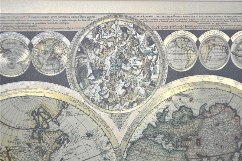 FRAMED WORLD MAP PETER SCHENK THE ELDER 1645-1715 - 5