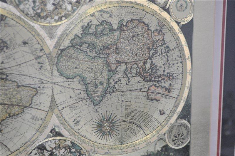 FRAMED WORLD MAP PETER SCHENK THE ELDER 1645-1715 - 6