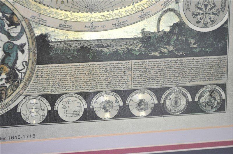 FRAMED WORLD MAP PETER SCHENK THE ELDER 1645-1715 - 7