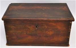 ANTIQUE PAINT DECORATED MINIATURE BLANKET BOX