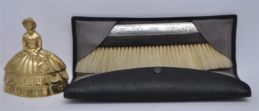 2 STERLING & EBONY CLOTHES BRUSH ORIG CASE - 10