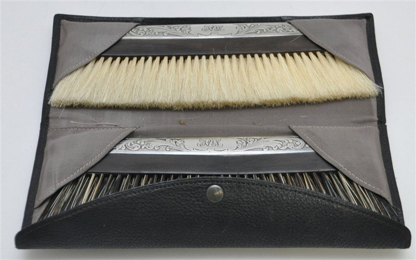 2 STERLING & EBONY CLOTHES BRUSH ORIG CASE - 2