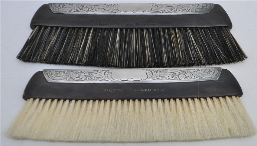 2 STERLING & EBONY CLOTHES BRUSH ORIG CASE - 6