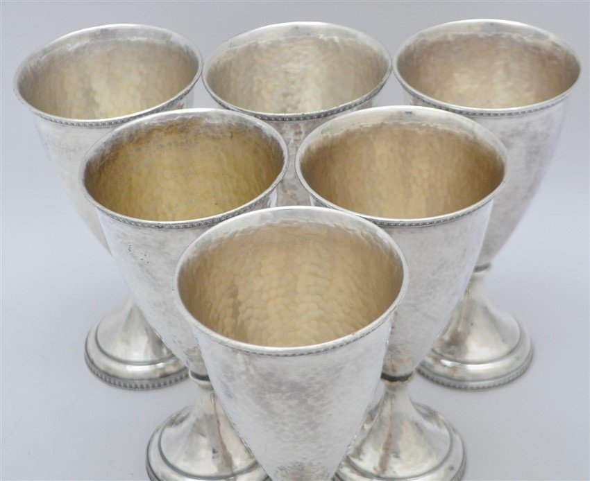 6 AMERICAN ARTS & CRAFTS HAND BEATEN GOBLETS - 3