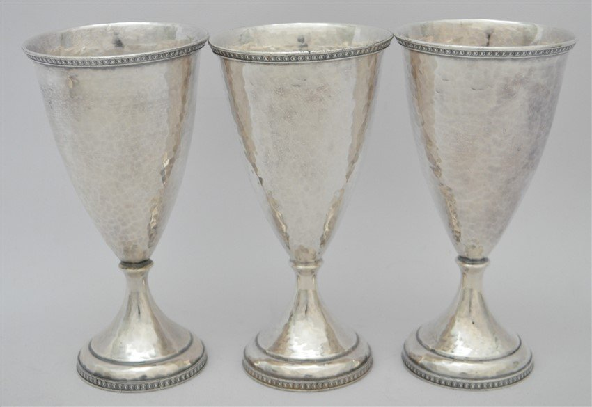 6 AMERICAN ARTS & CRAFTS HAND BEATEN GOBLETS - 4