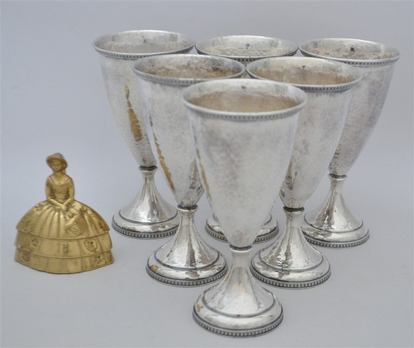 6 AMERICAN ARTS & CRAFTS HAND BEATEN GOBLETS - 7