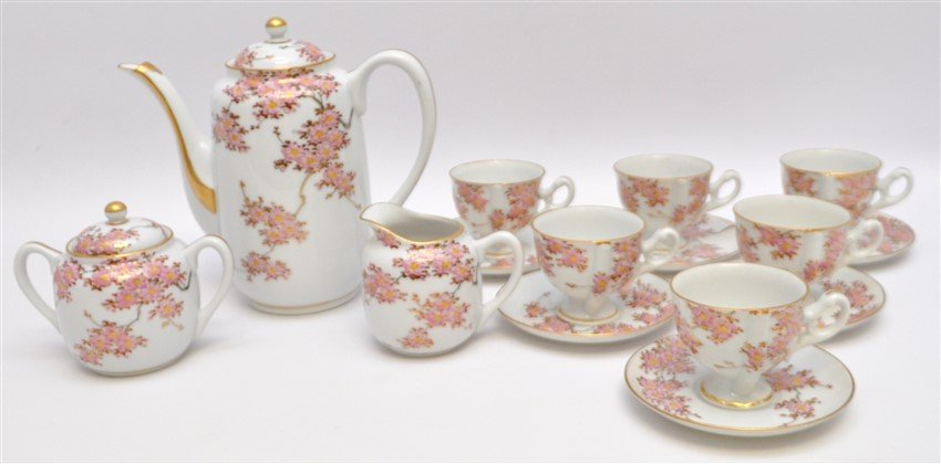 JAPANESE PORCELAIN CHERRY BLOSSOM TEA SET