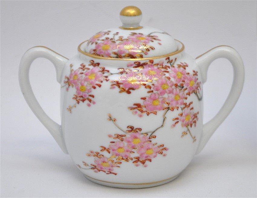 JAPANESE PORCELAIN CHERRY BLOSSOM TEA SET - 4