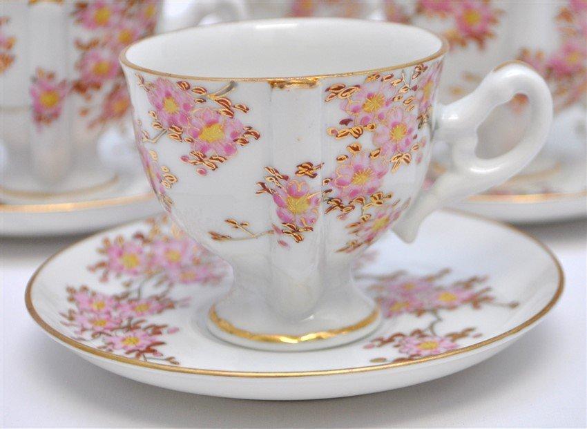 JAPANESE PORCELAIN CHERRY BLOSSOM TEA SET - 5