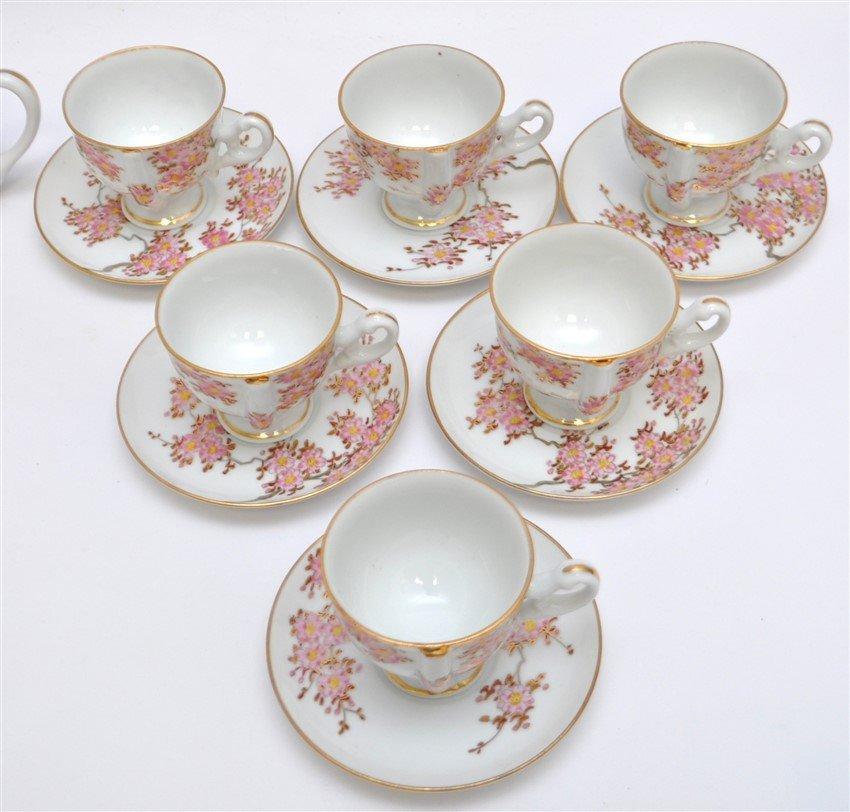JAPANESE PORCELAIN CHERRY BLOSSOM TEA SET - 6