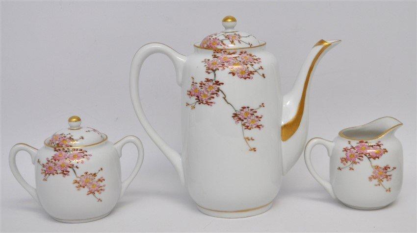 JAPANESE PORCELAIN CHERRY BLOSSOM TEA SET - 9