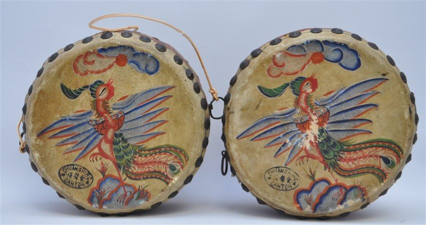 PAIR HAND PAINTED DRAGON PHOENIX DRUMS - 5