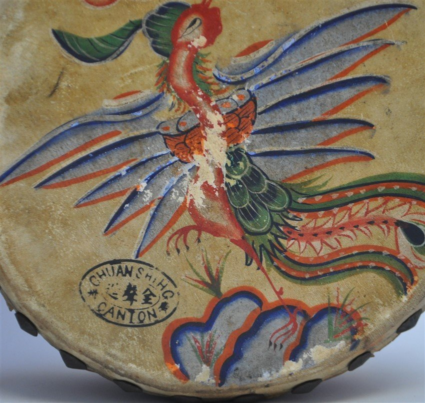 PAIR HAND PAINTED DRAGON PHOENIX DRUMS - 7