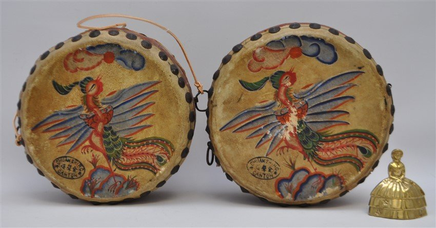 PAIR HAND PAINTED DRAGON PHOENIX DRUMS - 8
