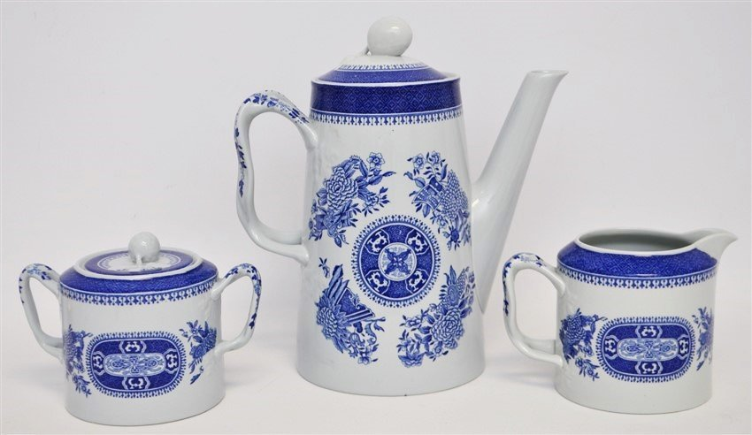 3 pc SPODE FITZHUGH BLUE COFFEE POT +