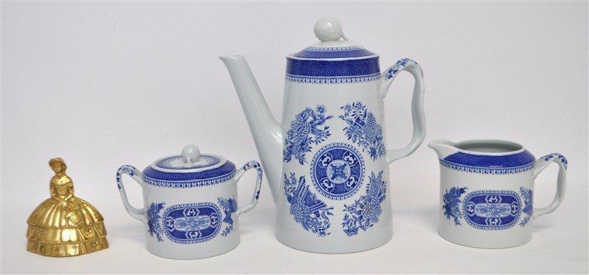 3 pc SPODE FITZHUGH BLUE COFFEE POT + - 8