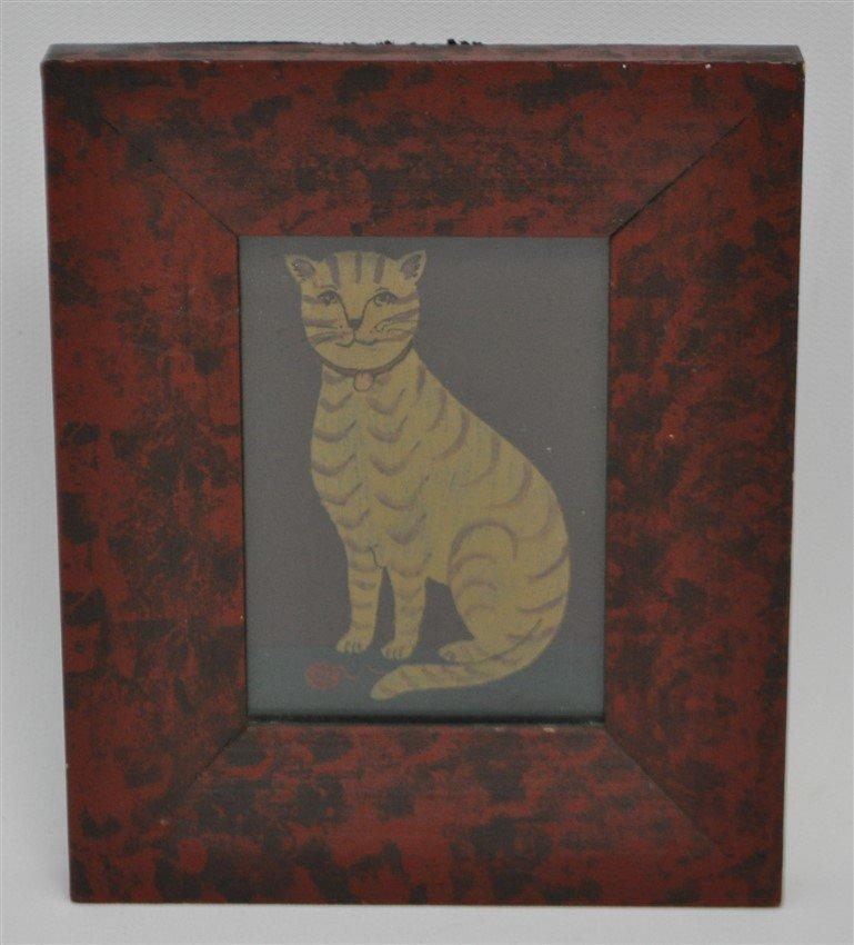 FRAMED HP AMERICAN FOLK ART CAT