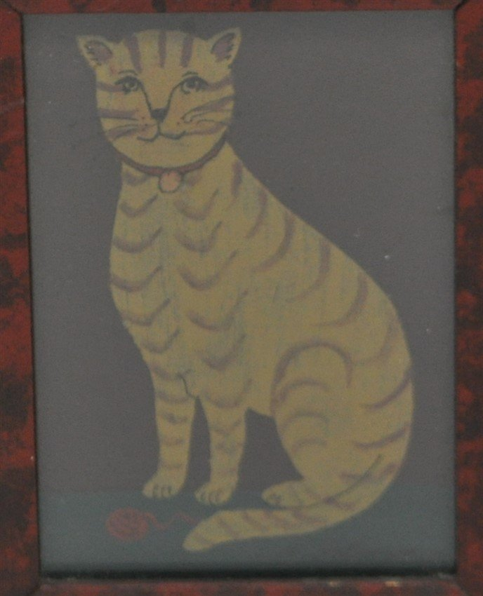 FRAMED HP AMERICAN FOLK ART CAT - 2