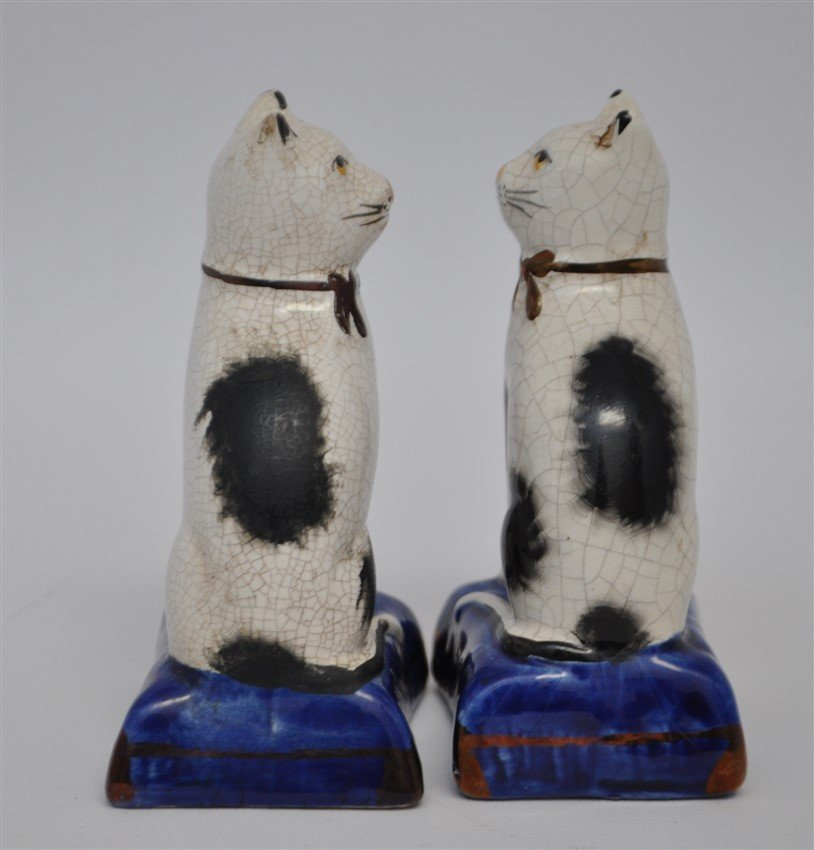 PAIR 19TH c. STAFFORDSHIRE SEATED CATS - 2