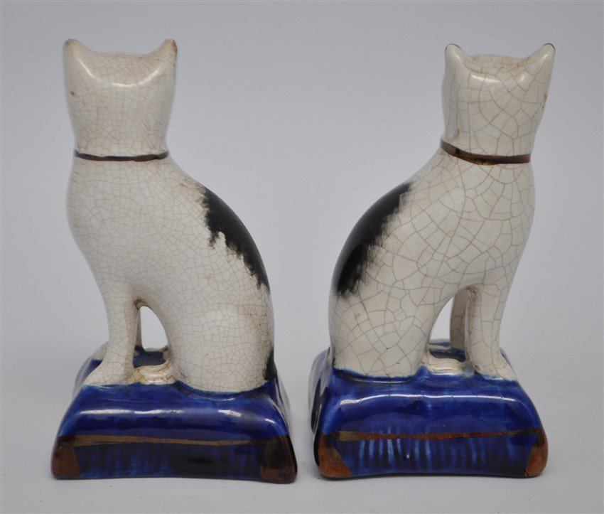 PAIR 19TH c. STAFFORDSHIRE SEATED CATS - 3
