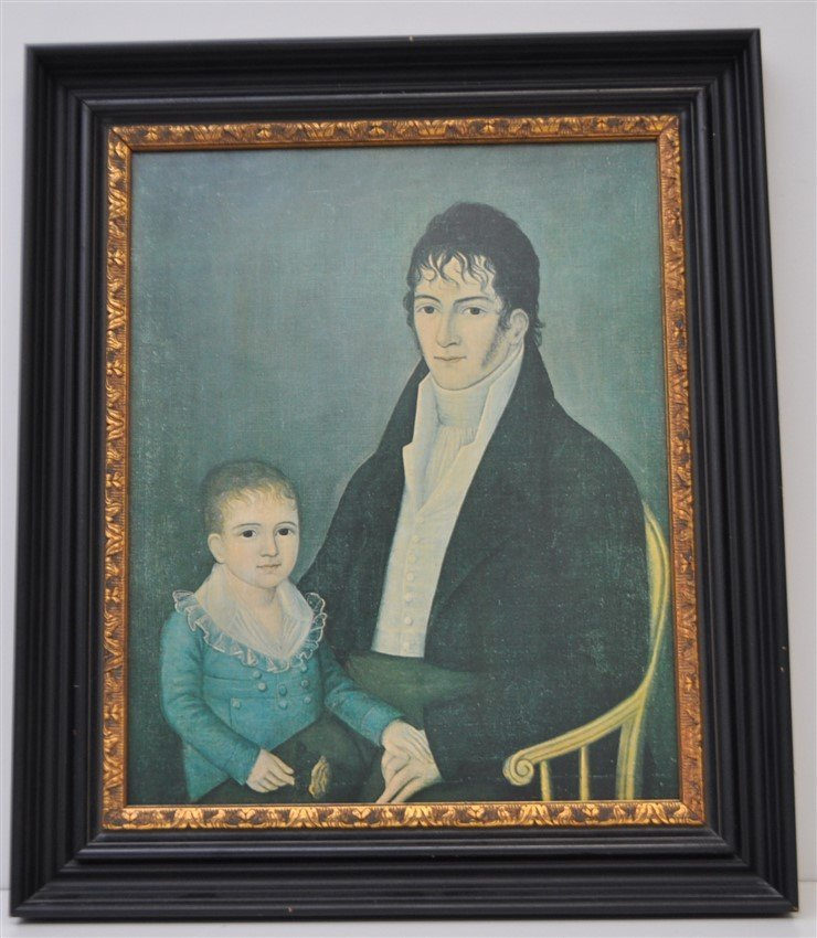 FRAMED FOLK ART FATHER &  SON PRINT