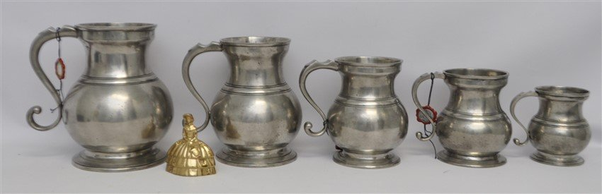 5 LES ETAINS DE PARIS PEWTER DRY MEASURES - 10