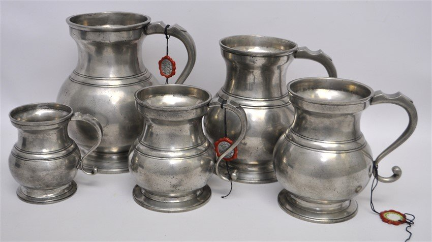 5 LES ETAINS DE PARIS PEWTER DRY MEASURES - 4
