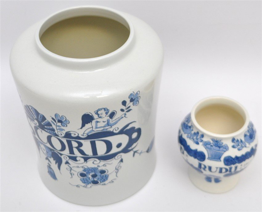 PAIR OF DELFT APOTHECARY JARS - 6