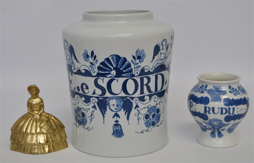 PAIR OF DELFT APOTHECARY JARS - 9