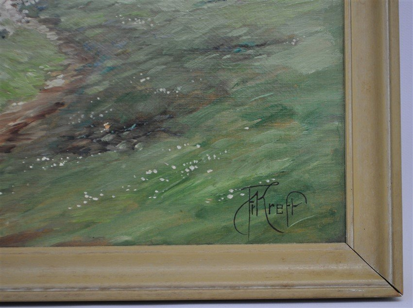ALPINE VIEW PAINTING ON BOARD SIGNED - 3