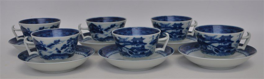 12 PC MOTTAHDEH BLUE CANTON CUP & SAUCER SETS