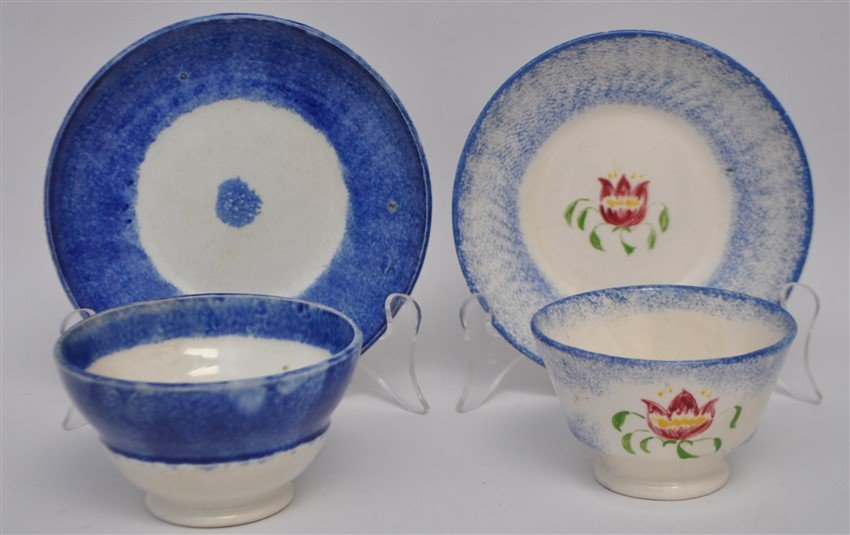 2 9TH C. SPATTERWARE HANDLELESS CUPS / SAUCERS